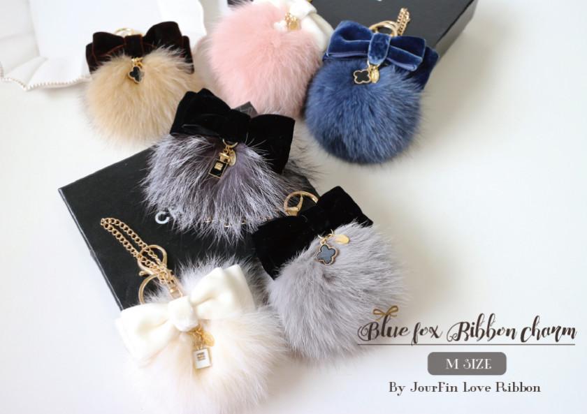 Blue Fox Ribbon Charm (M)