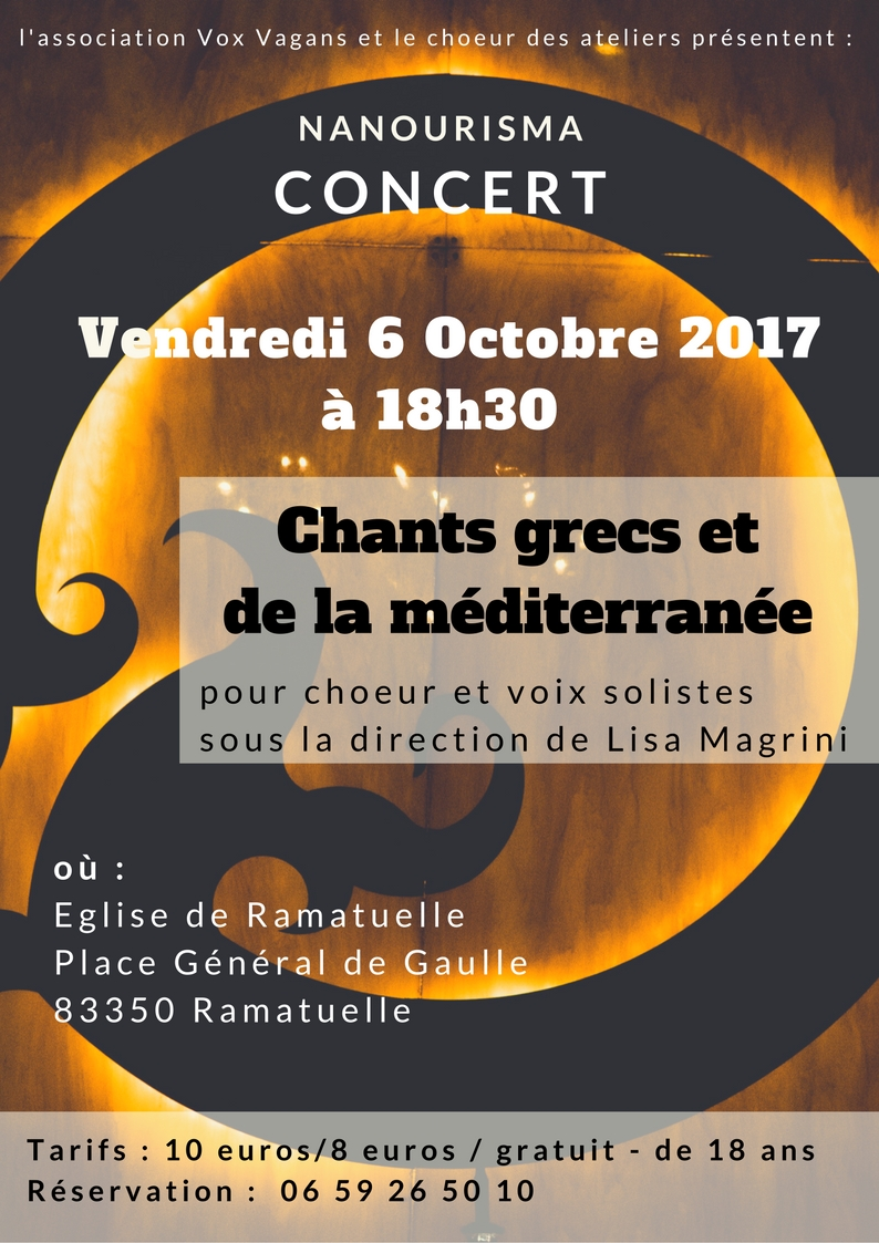 chant grec et de la méditerranée avec le choeur des ateliers et lisa magrini, soprano et direction