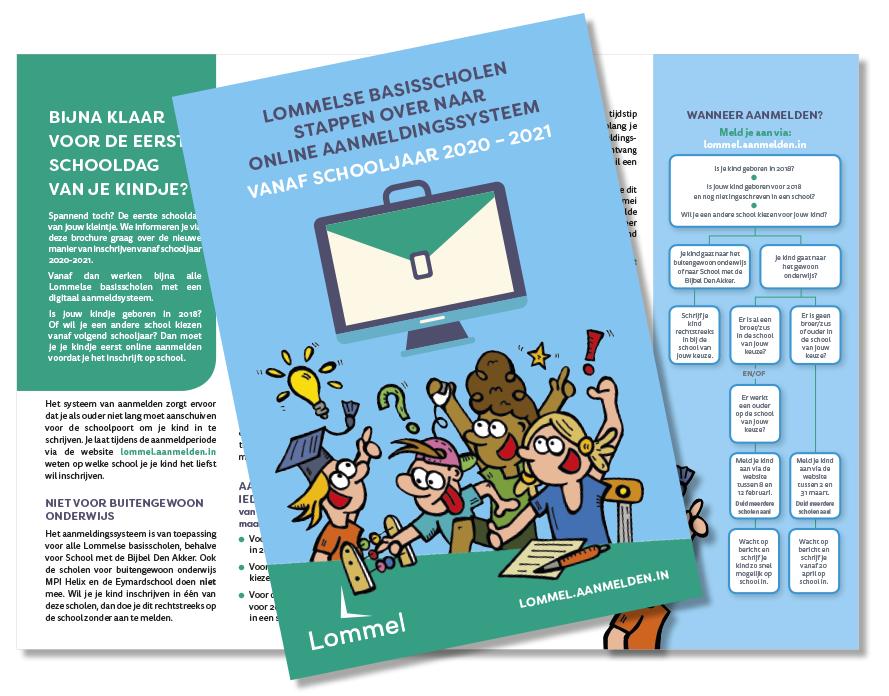 Van Bun Communicatie & Vormgeving - Infofolder Lommelse Basisscholen - Online aanmelden - Grafisch ontwerp & Illustratie