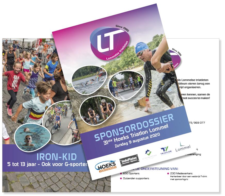Dirk Van Bun Communicatie & Vormgeving - Lommel - Grafisch ontwerp - Opmaak - reclame - publiciteit - Sponsorbrochure Triatlon Lommel - Grafische vormgeving