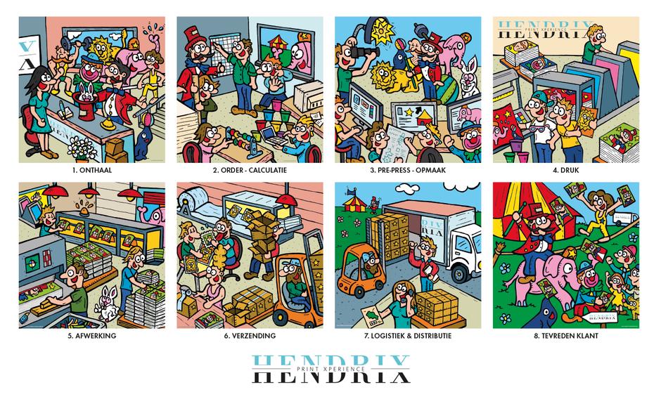 Van Bun Communicatie & Vormgeving - Illustraties - bedrijven - Drukkerij Hendrix - Canvas