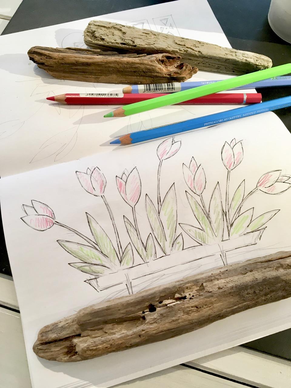 Entwurfs-Skizze und Vorzeichnung