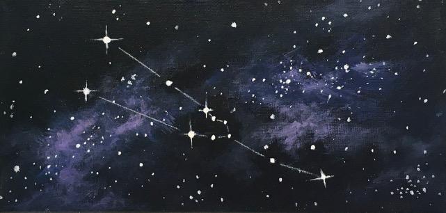 Sternbild Stier, Acryl auf Leinwand 10 x 20 cm Jochen Kröger 2019