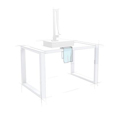 Waschtisch Skizze Handtüchhalter integriert