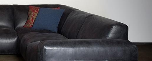 Schwarze Designer Leder Couch