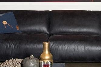 Schwarzes Designer Leder Sofa