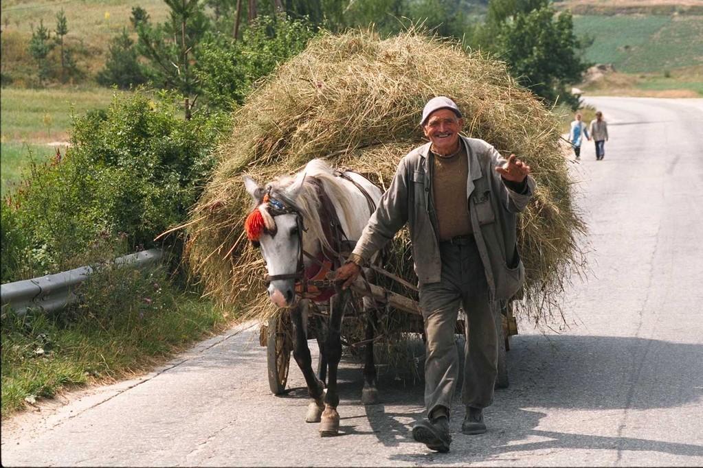 仕事を終えて愛馬と家路に