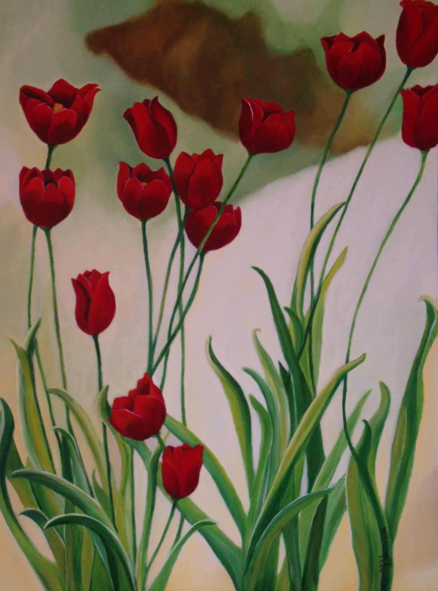 Tulpen op panel 60 x 40 br
