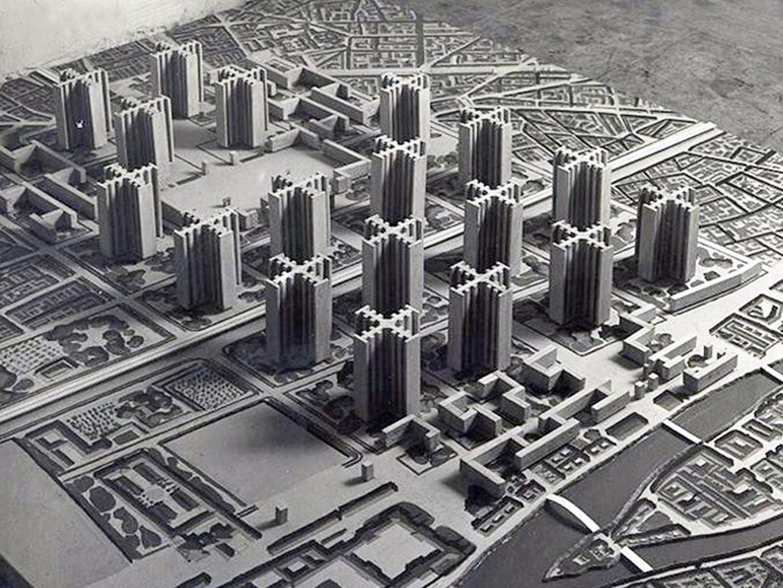inspiratie Le Corbusier: Plan Voisin (utopische stad, 1925)