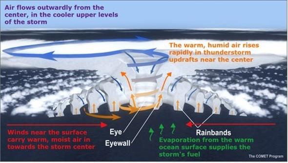 Bildquelle: hurricanescience.org | Die Zirkulation eines Hurrikans