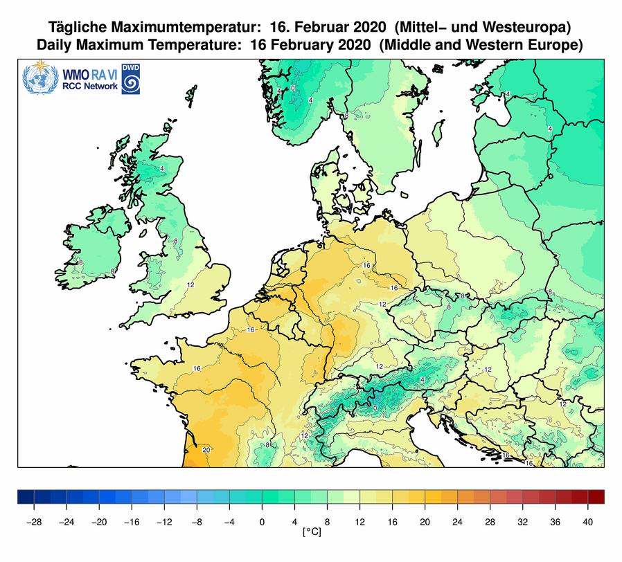 Höchsttemperaturen am 16.02.2020 in Mitteleuropa | Bildquelle: Deutscher Wetterdienst