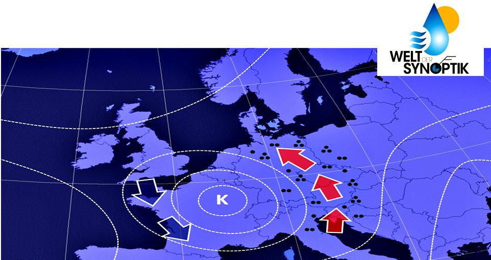 Abb. 1 | Kaltlufttropfen in der Höhenwetterkarte (Isohypsen = gestrichelte weiße Linien). Vorderseitig herrscht Kaltluftadvektion (blaue Pfeile) und rückseitig Warmluftadvektion (rote Pfeile) mit stärkeren Niederschlägen. | Bildquelle: Welt der Synoptik