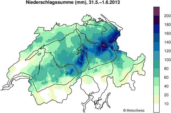 Bildquelle: MeteoSchweiz: 48-stündiger Niederschlag zwischen 31.05 und 01.06.2013.