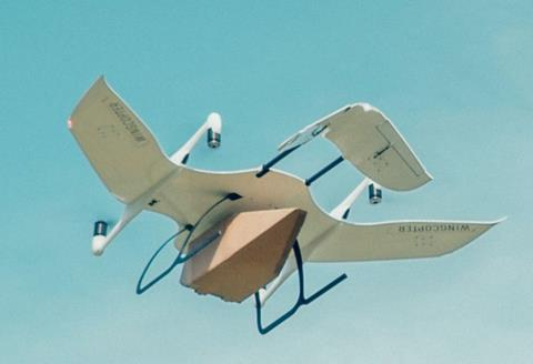 Displayed here is a Wingcopter drone transporting blood samples in the northeast of Germany – photo: company courtesy.