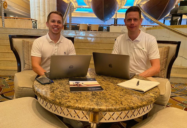 Lewis King (left) and James Wyatt working on their partnership strategy in Dubai  -  image: aeroconcept