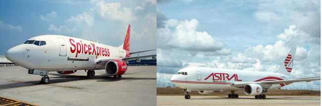 Stars and Spice linking continents in similar liveries. Image: Astral Aviation/SpiceXpress