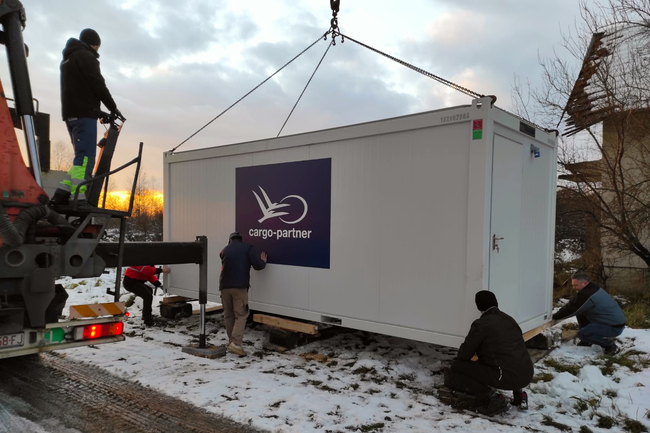 One of 12 new containers providing temporary shelter. Image: cargo-partner