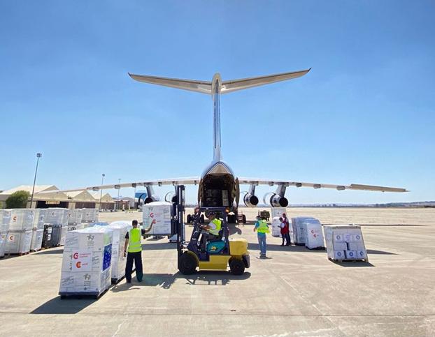 110 tons of relief goods await loading. Image: Volga-Dnepr