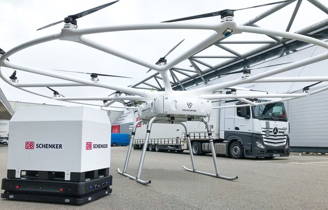 The VoloDrone represents a key element for DB Schenker's innovation and sustainability, states the logistics company  - photo courtesy DB Schenker / Volocopter