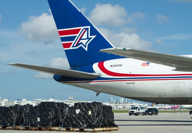 350,000 doses bound to Central America and the Caribbean were loaded on board an Amerijet B767-300P2F in Miami  -  company courtesy