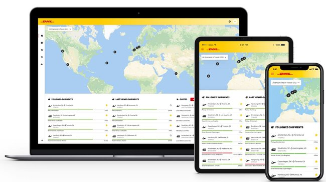 myDHLi in responsive design  -  Image: DHL Global Forwarding