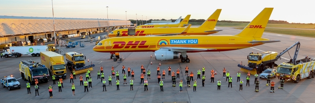 DHL thanks their employees who applaud this acknowledgement as illustrated here