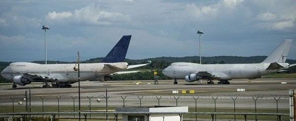 Two of the three 747s parked at KLIA -  source MAHB
