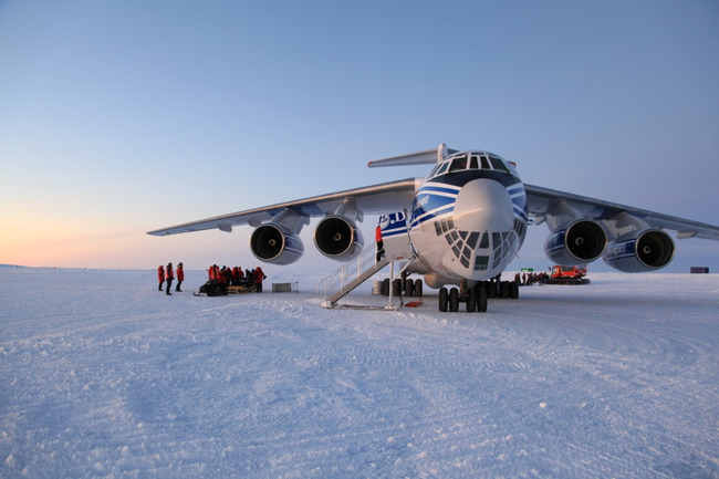 Landing on a glacier blue ice runway demands skill and precision. Image: Volga-Dnepr