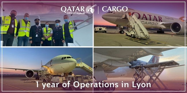 From zero to 211 flights in just 12 months ex Lyon. Image: Qatar Airways Cargo