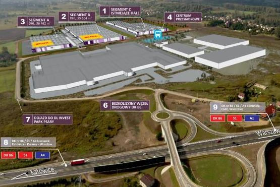 Joint investment in a new logistics center in Psary, Poland - Image: DHL