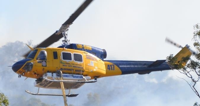 Australian helicopter chartered by broker Chapman-Freeborn and flown on board an AN-124 to Greece for aerial fire fighting  -  courtesy McDermott Aviation