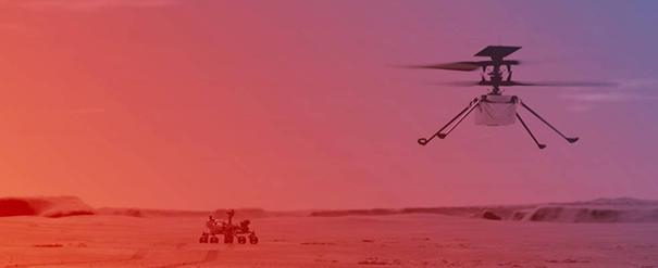 An illustration of NASA's Ingenuity Helicopter flying on Mars. Image: NASA/JPL-Caltech