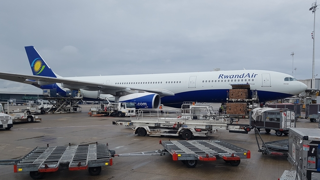 """""""The airline is an irreplaceable catalyst for economic growth,"""" Minister Uzziel Ndagijirnana. Pictured here: A330 of Rwand Air at Brussels Airport – photo hs/CFG"""