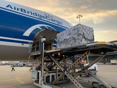 SkyCell 1500C container loaded in Hong Kong aboard a B747-8F – image ABC