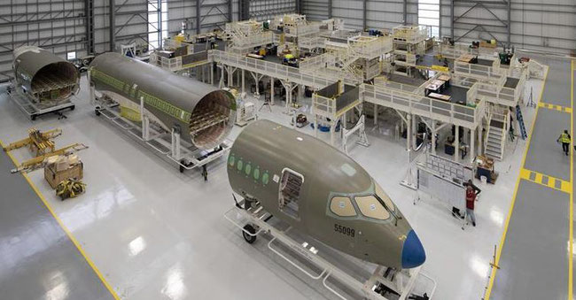 JetBlue A220 being assembled in Mobile - image: Airbus
