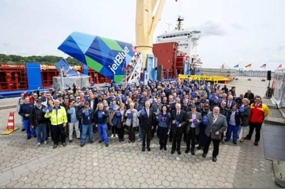 Airbus staff bid farewell to the first Mobile bound shipment  /  courtesy Airbus Hamburg