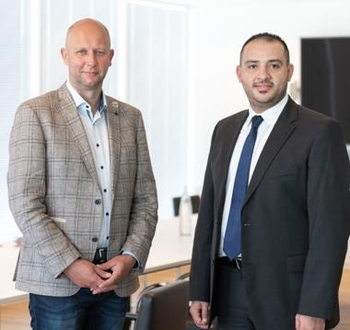 Frédéric Jacquet (left) and Hassan Zaki Al-Dessi look to a joint commercial future. Image: Liège Airport