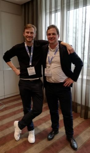 Adriaan Landman of ALLRead (left) and Cargometer's Bernhard Obermaier are pleased about the voting result