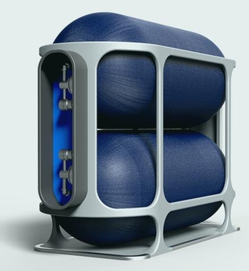 Hydrogen capsules can easily be placed and fastened in the rear part of aircraft  -  courtesy: Universal Hydrogen