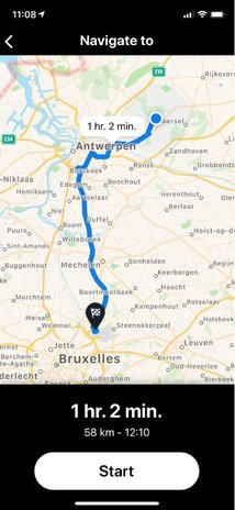 """Truckmeister"" screenshot, illustrating the most convenient and fastest route from pickup at Sint-Antonius near Antwerp to delivery at Brussels Airport  -  courtesy: Nallian"