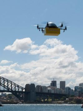 Image of the future: commercial drones delivering packages