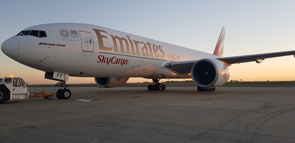 """Dish-dashing"" through the skies. Image: Emirates SkyCargo"