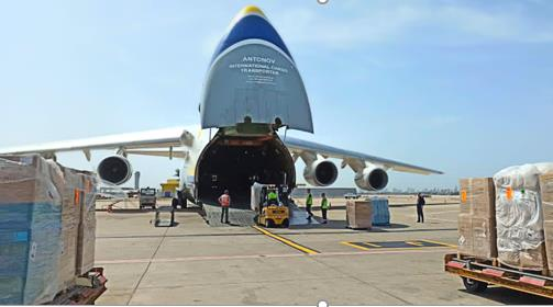 70 tons of oxygen concentrators on their way to India. Image: Antonov Airlines