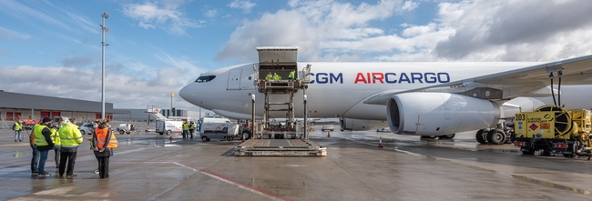 Loading completed. CMA CGM Air Cargo's A330-200F is (almost) ready to take to the skies – company courtesy