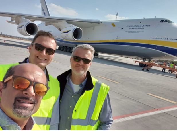 BUD managers in good spirit (l > r): CCO Kam Jandu (in the forefront), Cargo Chief József Kossuth, Chief Development Officer René Droese  -  image courtesy of Budapest Airport