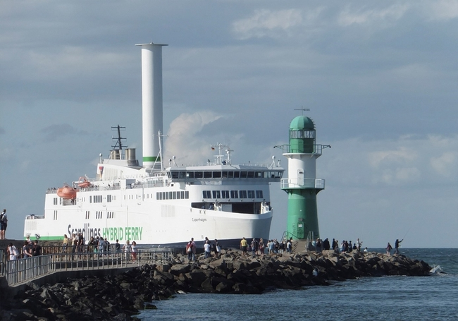 Scandlines hybrid ferryboat propelled by a mix of oil burn and a rotor sail – company courtesy