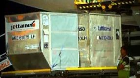 Unloading of Lufthansa shipments at Hyderabad Airport  /  source: HYD