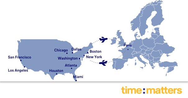 Across the pond and beyond. Image: time:matters