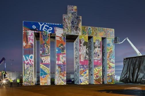 "Leon Löwentraut's ""Global Gate"" at Frankfurt Airport illustrates the UN SDGs. Image: Lufthansa Cargo"