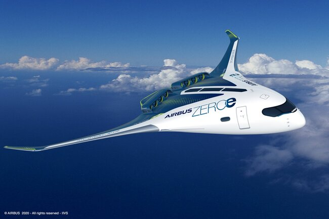 Concept study of Delta-shaped zero-emission aircraft conceived by Airbus and powered by LH2 – company courtesy